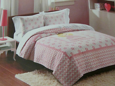 Ivy Hill Home Kids CHEVRON PRINCESS FULL Quilt Shams Set, Pink,Girl Bedding New