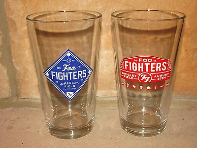 NEW FOO FIGHTERS CHICAGO WRIGLEY FIELD CONCERT 2015 BEER PINT GLASSES - SET OF 2