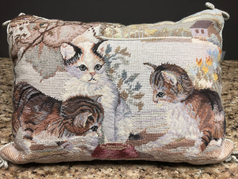 Vtg Needlepoint French Country Kitten Cat Accent Throw Pillow, Imperial Elegance