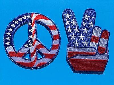 """SET OF 2 USA AMERICAN FLAG PEACE SIGN VICTORY + ROUND EMBROIDERED PATCH (~ 3"""")"""