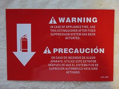 Class K Kitchen Fire Extinguisher Bilingual Sign 8 X 12 Vinyl Adhesive New