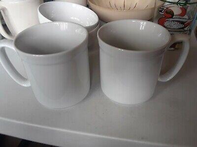 "Williams-Sonoma White Pantry Essentials Set of 2 Coffee Tea Mugs Cups 3-3/4"""