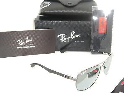 71dd3c7805 Ray-Ban Carbon Fibre RB 8313 004 K6 58mm Gunmetal Blue Mirror Silver  polarized