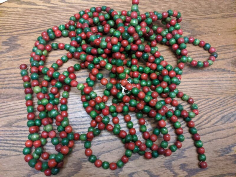 VINTAGE WOODEN BEAD XMAS TREE GARLAND STRAND RED GREEN RARE VTG MCM LONG OLD