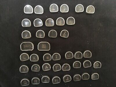 Vintage Typewriter Antique Keys Crafts Jewelry; Glass, Flat Backs;  40count
