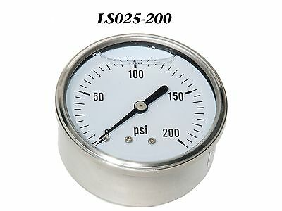 New Hydraulic Liquid Filled Pressure Gauge 0-300 Psi 14 Npt Center Back Mount