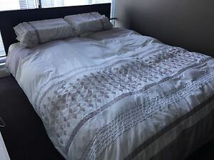 Queen bed -spinal care pillow top mattress and dark wood bed frame East Melbourne Melbourne City Preview
