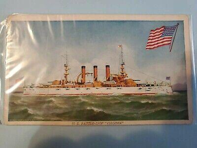Used, VINTAGE MILITARY VESSEL,U.S BATTLESHIP VIRGINIA,VA Postcard  for sale  Prairie du Chien