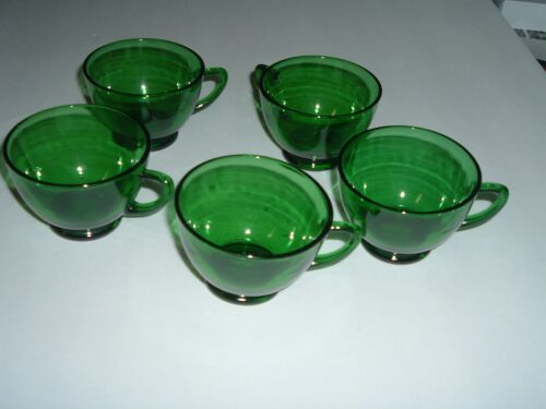 5 Vintage Anchor Hocking Forest Green Punch Snack Tray Cups