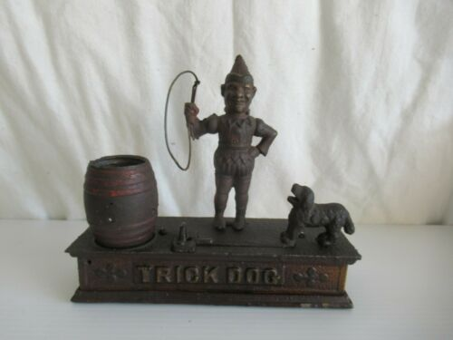 VINTAGE TRICK DOG & CLOWN CAST IRON BANK