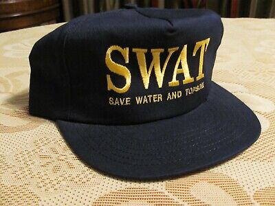 Vintage SWAT Save Water and Topsoil Progressive Farmer Baseball Hat Blue Cap (Swat Hats)