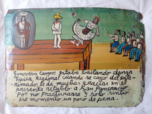 "Ex voto Mexican Retablo ""Fall from the stage"" Hand Painted"