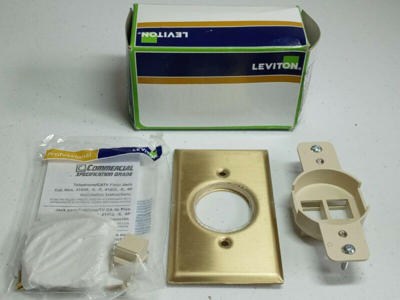 Leviton 41652 QuickPort Floor Jack Assembly Solid Brass