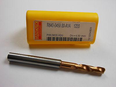 Sandvik Carbide Coolant Fed Drill 4.50mm R840-0450-30-a1a 1220