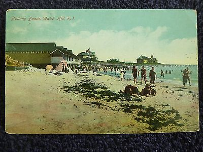 Early 1900's The Bathing Beach at Watch Hill, RI Rhode Island PC