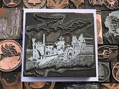 Large Antique Vtg Ipeu Tractor Farm Letterpress Print Type Cut Ornament Block