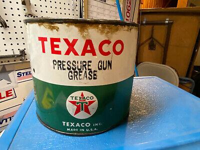 Vintage TEXACO - PRESSURE GUN GREASE 2.267 Kilo Can Metal Can TEXACO Oil Can