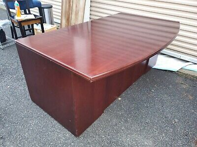 Gunlocke Office Furniture Set - D Top Desk With Glass And Credenza