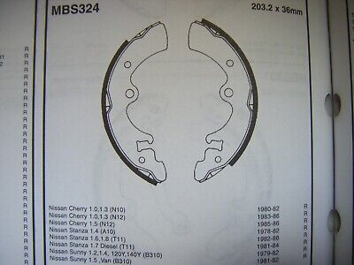 Nissan Cherry/Stanza/Sunny rear brake shoes (mbs324) (78 - 88)