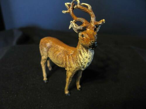 Vintage Putz Standing Metal Reindeer – Marked Germany –  Lead Antlers