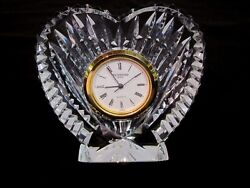 Waterford Crystal Heart-Shaped Desk Clock. Giftware. Perfect. IRELAND.