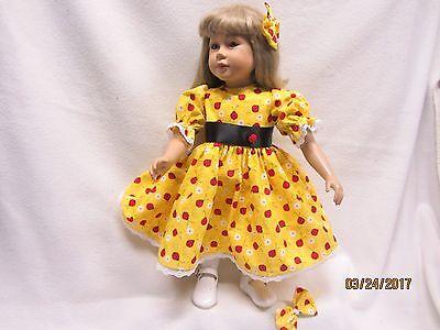 """LADYBUGS & LACE dress & 2 matching bow barrettes fits 23"""" My Twinn"""