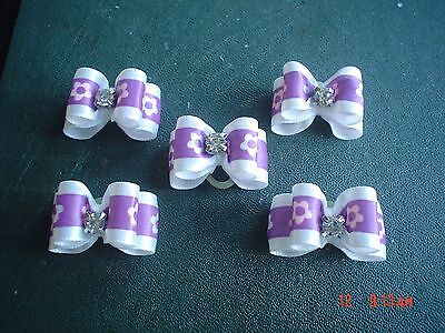 Pretty Purple And White Flower Show Style Dog Grooming Bows Diamante Centre #2
