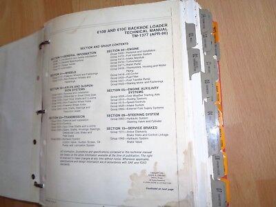 John Deere 610b 610c Backhoe Loader Tech Repair Operation Test Manual Tm1377 Oem