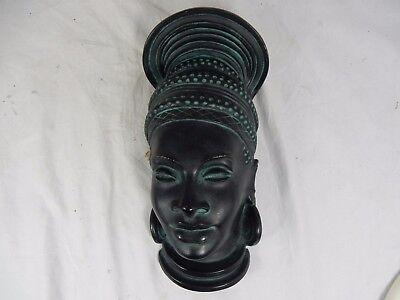 Anmutige 50´s Ethno design Wandmaske wall mask Achatit Werkstätten black 25 cm