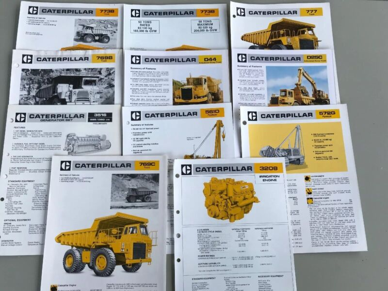 Lot of 11 Vintage Caterpillar Specification Spec Sheets Trucks Pipelayers