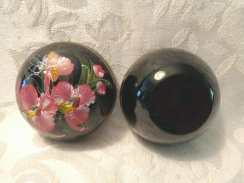 Vintage  Black Lacquer Hand Painted Trinket Boxes - #5