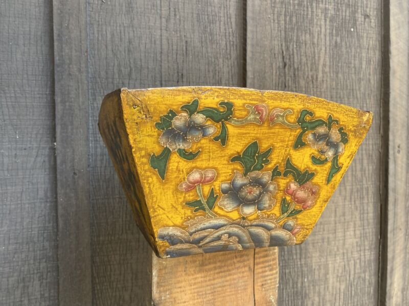 Painted Vtg Chinese Asian Classic Old Wooden Rice Harvest Basket Imperial Yellow