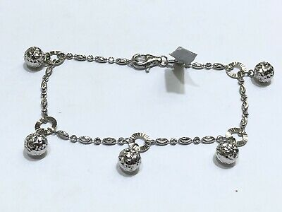 - 18k White Gold Diamond Cut Dangling Ball Charm Bracelet 6.5 Inches