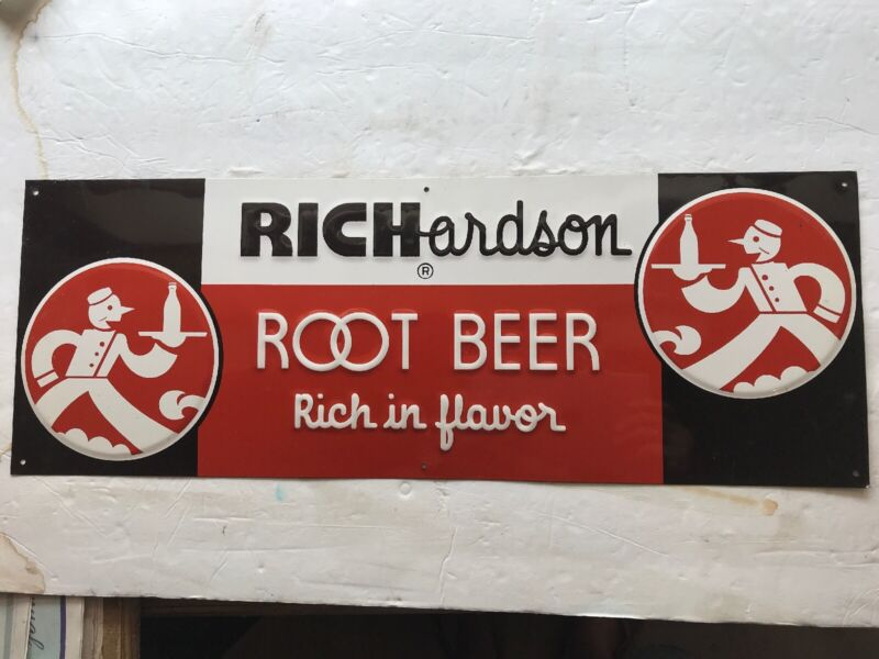 Richardson Root Beer Vintage Embossed Tin Sign, Great Graphics
