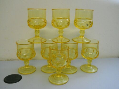 Vintage Indiana Glass Kings Crown Thumbprint Yellow Wine Goblets Set of 8