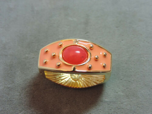 JOAN RIVERS Peach Coral Enamel Rhinestone Scarf Clip Bead Clasp Shortener CL 23