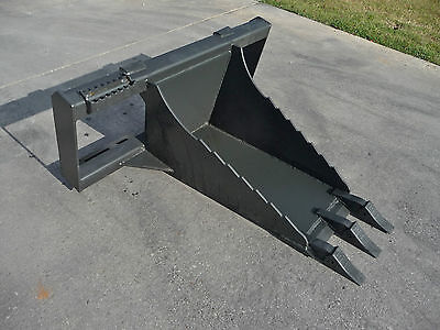 Bobcat Skid Steer Attachment Stump Bucket Dig Spade With Teeth - Free Shipping