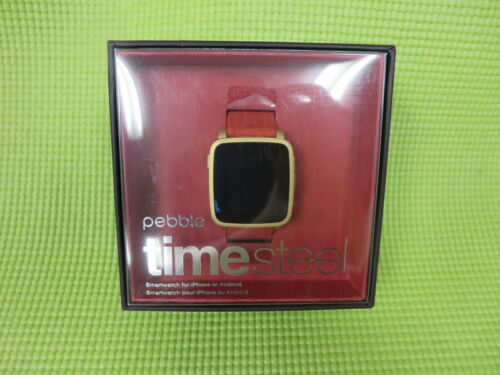 Pebble Time Steel Smartwatch 32mm Gold Leather PBSTL-TM-GLD