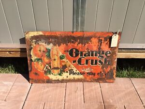 1930's orange crush tin embossed sign crushy oc signs