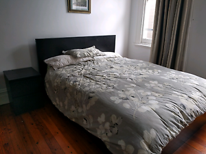 Queen bed - black Malm (Ikea) - mattress not included. Petersham Marrickville Area Preview