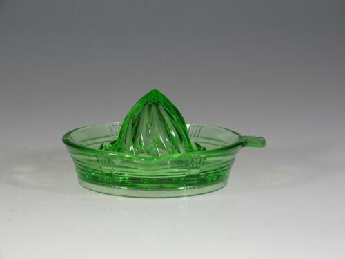 Vintage Hazel-Atlas Glass Green  Criss Cross Lemon Juicer Reamer Minty c.1935