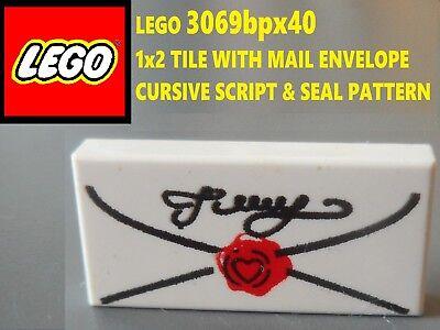 LEGO White 1x2 Cursive Script Minifigure Letter Tile