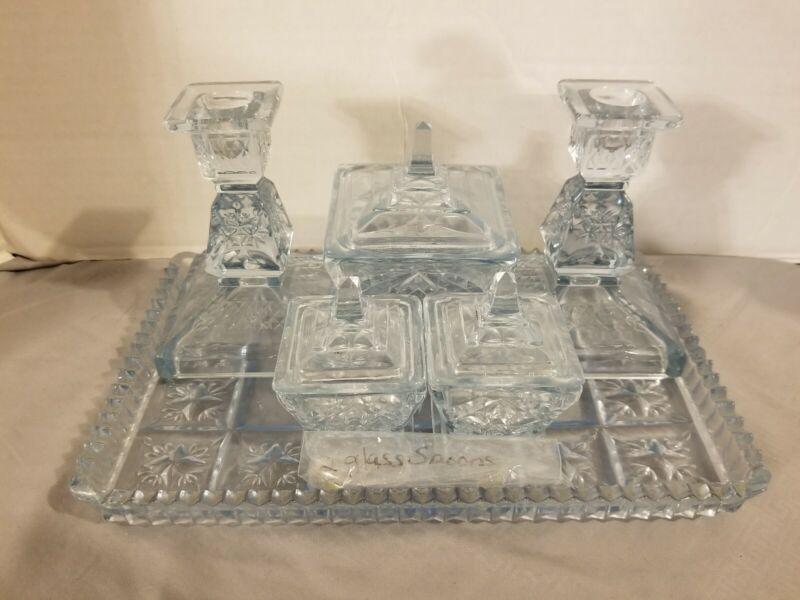 VINTAGE CRUET DRESSER SET VANITY CONDIMENT SET  CANDLESTICKS CUT GLASS