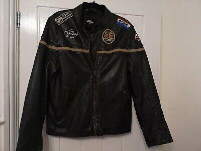 NO FEAR Racing Leather Jacket Motor  Biker Vintage 90s Size M