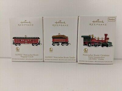 2012 Hallmark Nutcracker Route Christmas Train Locomotive Lionel Ornament Set 3