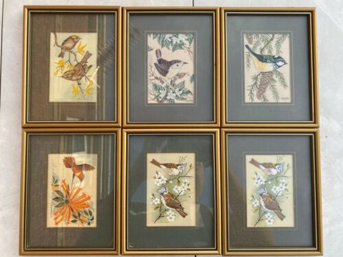 Set of Six Cashs miniature woven pictures/silk paintings