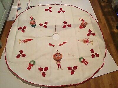 "Vintage Felt Elf Pixie Elves Christmas Tree Skirt 54"" Appliqué Restores"