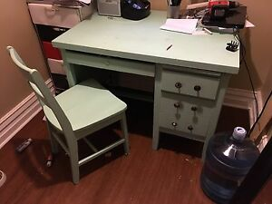 Refinished solid oak desk and matching chair  $60