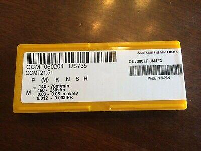 10 Pcs Mitsubishi Ccmt060204 Us735 Ccmt21.51 Carbide Inserts Steelstainless