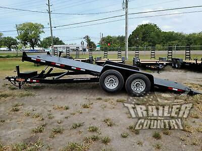 New 2020 7 X 20 14k Flatbed Steel Deck Power Tilt Equipment Car Hauler Trailer
